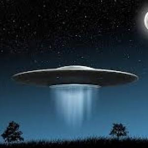 UFO saucer moon sky